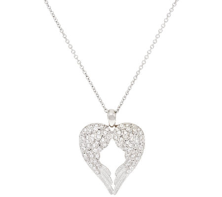 Diamonique Open Heart Angel Wing Pendant, Platinum Clad