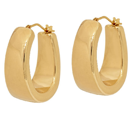 "Oro Nuovo 1"" Polished Graduated Hoop Earrings 14K"