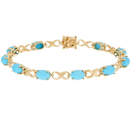 "14K Gold 7-1/4"" Sleeping Beauty Turquoise Bracelet"