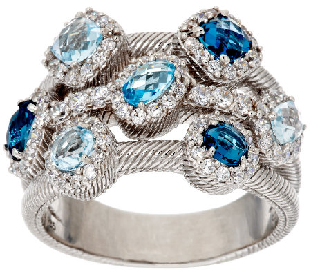 Judith Ripka Sterling 1.90 ct tw Shades of Blue Gemstone Ring
