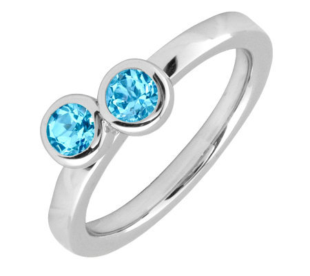 Simply Stacks Sterling & Blue Topaz Double Circle Ring