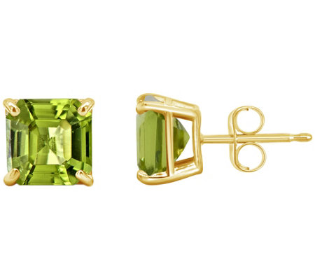 Asscher Cut Gemstone Stud Earrings, 14K Gold