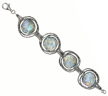 "Or Paz Sterling 6-3/4"" Roman Glass Station Bracelet"