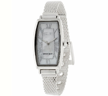 Ecclissi Mother-of-Pearl Dial Sterling Mesh Strap Watch