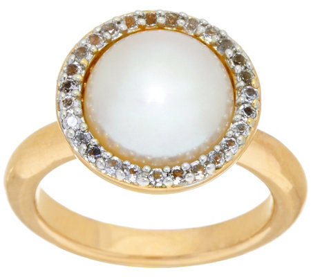Honora Cultured Pearl 10.0mm and .20 ct tw White Topaz Bronze Ring