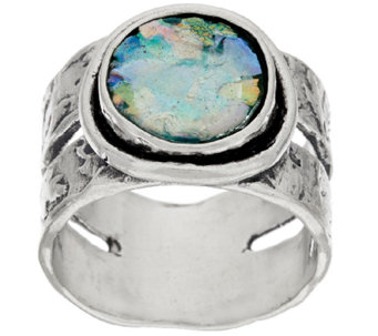 Sterling Silver Roman Glass Textured Band Ring by Or Paz - J321495