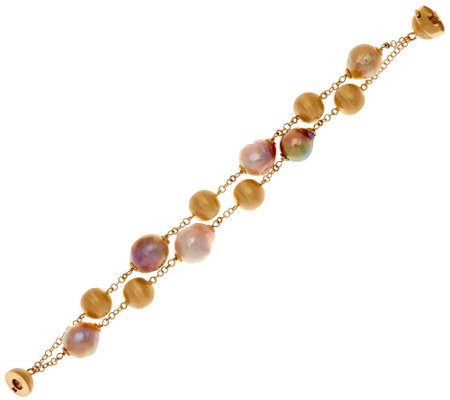 Honora 14K Gold Cultured Pearl 11.0mm Ming Multi-strand Bracelet