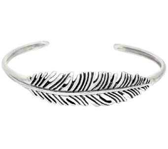 Sterling Silver Feather Design Cuff by American West - J323895