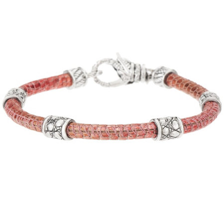 JAI Sterling Croco Texture Station Leather Bracelet