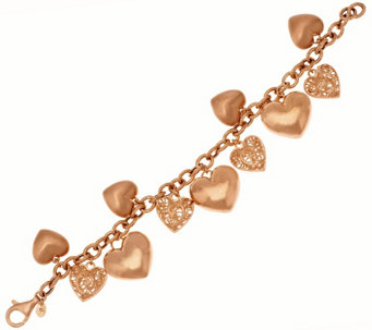 """As Is""Veronese 18K Clad 7-1/4"" Textured Heart Charm Bracelet, 23.0g - J325495"