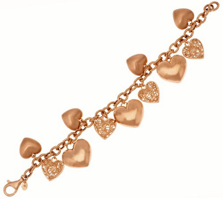 """As Is""Veronese 18K Clad 7-1/4"" Textured Heart Charm Bracelet, 23.0g"