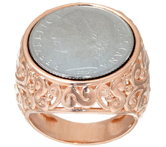 Bronzo Italia 100 Lire Coin Scroll Design Ring - J325795
