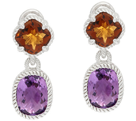 Judith Ripka Sterling 8.80 cttw Gemstone Drop Earrings