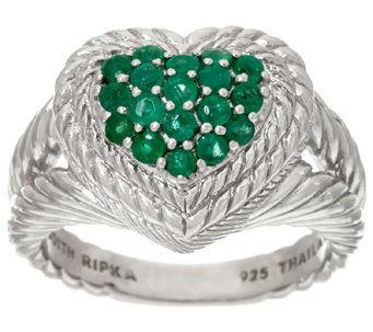 Judith Ripka Sterling Pave' 0.55 cttw Emerald Heart Ring - J326895
