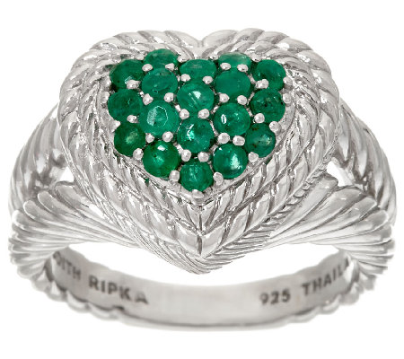 Judith Ripka Sterling Pave' 0.55 cttw Emerald Heart Ring