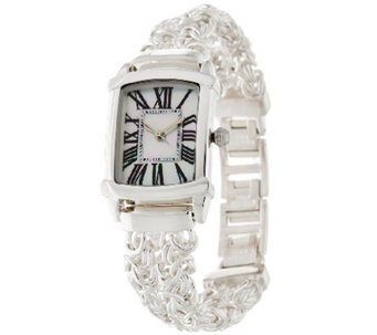 """As Is"" UltraFine Silver Polished DoubleByzantine Strap Watch - J327295"