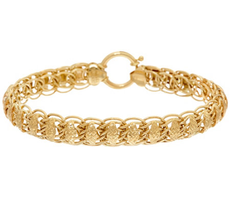 "14K Gold 6-3/4"" Domed Diamond Cut Fancy Woven Bracelet, 5.9g"