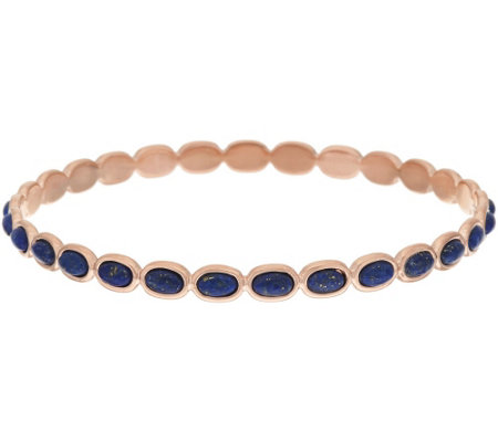 """As Is"" Bronze Lapis Polished Round Bangle by Bronzo Italia"