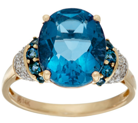 Color Change Fluorite & London Blue Topaz Ring 14K, 5.20 cttw