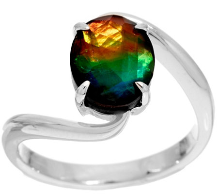 Ammolite Triplet Oval By-Pass Design Sterling Silver Ring