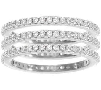 Diamonique Set of 3 Eternity Band Rings, Sterling or Tri-Color - J329495