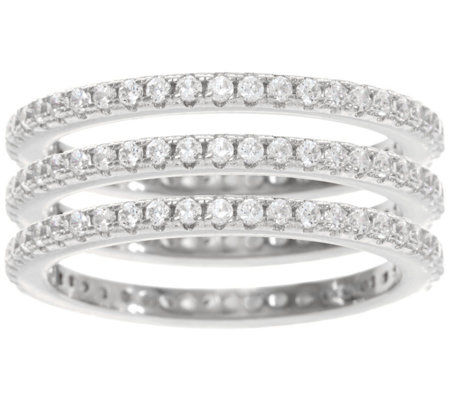 Diamonique Set of 3 Eternity Band Rings, Sterling or Tri-Color