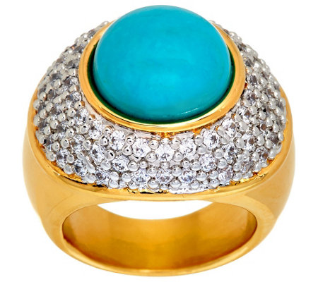 """As Is"" Oro Nuovo Gemstone Cabochon & Pave' Crystal Ring, 14K"