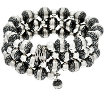 Sterling Silver Stamped & Polished Bead Bracelet by American West - J330495
