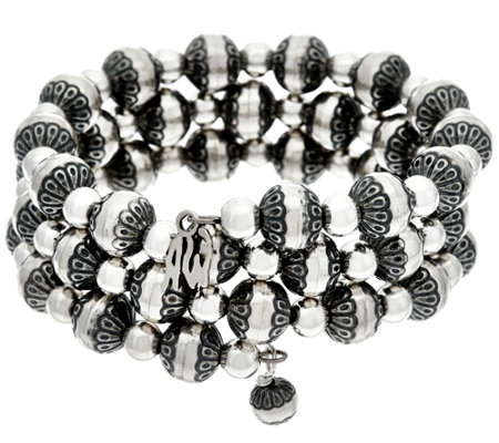 Sterling Silver Stamped & Polished Bead Bracelet by American West