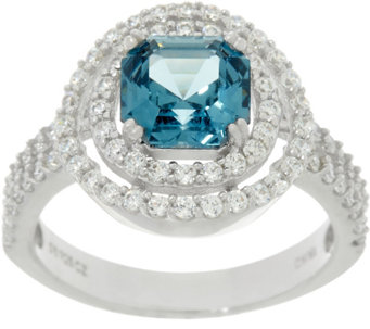 Diamonique Halo & Simulated Tourmaline Ring, Platinum Clad - J330595