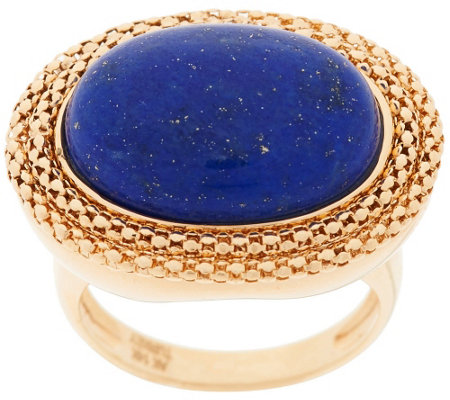 """As Is"" 14K Bold Woven Border Lapis Ring"