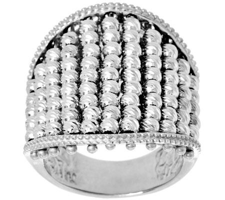 Vicenza Silver Sterling Diamond Cut Multi-bead Ring