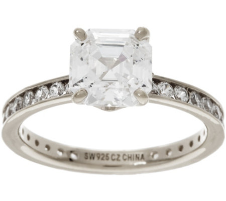 Diamonique Solitaire Eternity Ring, Sterling