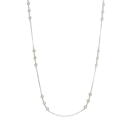 "Diamonique 2.70 cttw 24"" Station Necklace, Sterling"