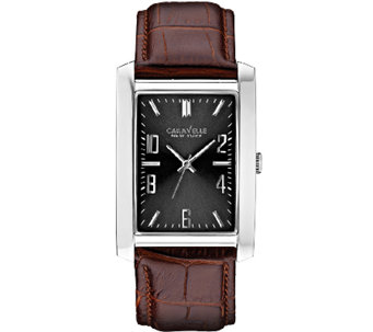 Caravelle New York Men's Rectangular Face Leather Band Watch - J336795