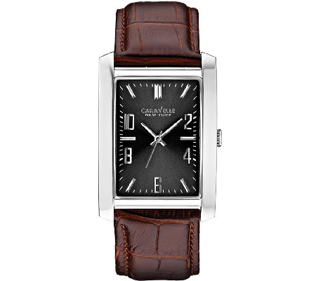 Caravelle New York Men's Rectangular Face Leather Band Watch