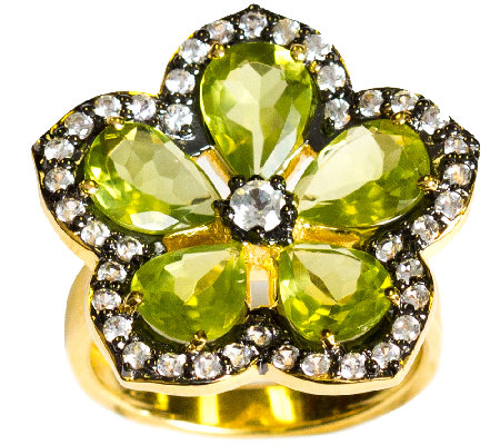 Graziela Gems Peridot Flower Ring, Sterling & 18K Yellow