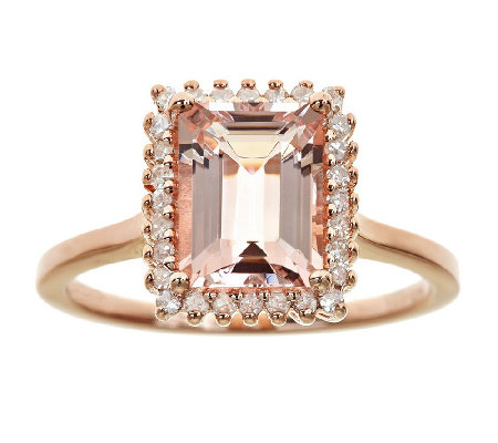 1.65cttw Morganite and Diamond Halo Ring, Sterling 14K Rose