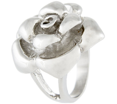 Stainless Steel Sculpted Rose Ring