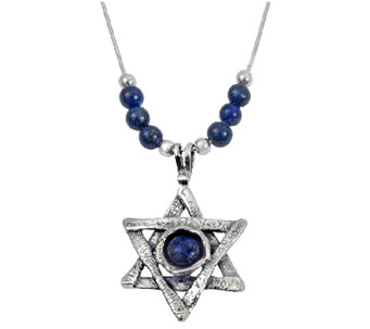 Or Paz Sterling Lapis Star of David Necklace - J338295