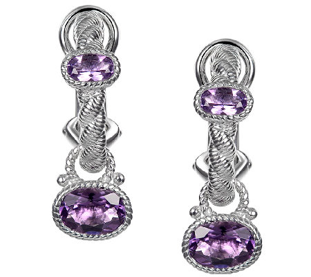 Judith Ripka Sterling 1.55cttw Amethyst Charm Earrings