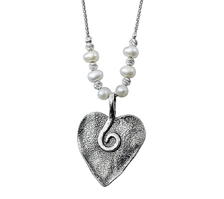 Sterling Silver Cultured Pearl Heart Necklace by Or Paz