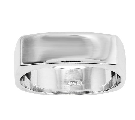 Sterling Polished Rectangular Front Band Ring