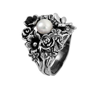 Sterling Silver Cultured Pearl Floral Bouquet Ring by Or Paz - J339495