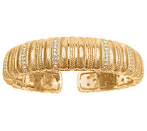 Judith Ripka Sterling & 14K Clad Textured & Diamonique Cuff - J339795