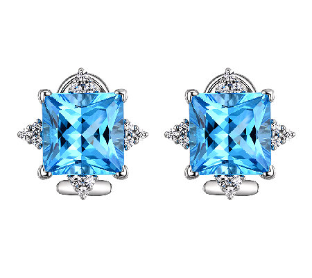 Judith Ripka Sterling Blue Topaz & Diamonique S tud Earrings