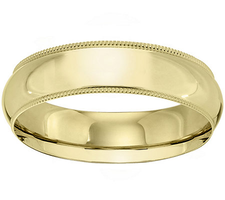 14K Gold 6mm Milgrain Comfort Fit Wedding BandRing