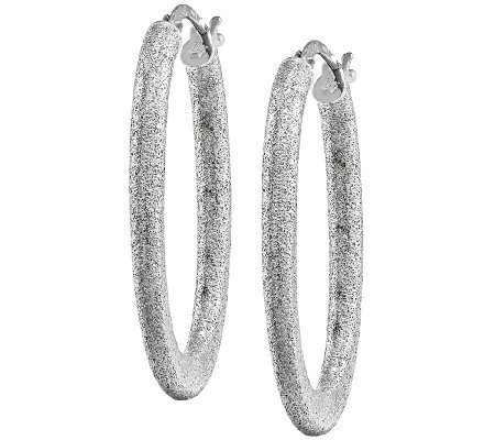 Oval Textured Earrings, 14K White Gold