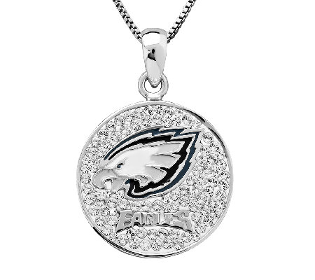 NFL Sterling Silver Crystal Disc Pendant w/Chai n