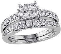 Cluster Diamond Ring Set, 14K White Gold, byAffinity - J340895